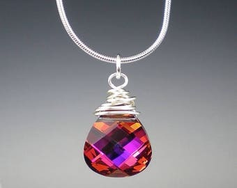 SALE Violet Red Crystal Necklace Swarovski Light Rose Volcano Pink Violet Orange Jewelry
