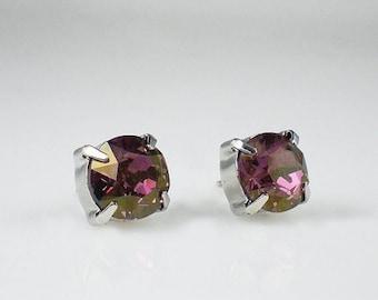 SUMMER SALE 3 Pairs Lilac Shadow Rhinestone Stud Earrings Swarovski Lavender Pink Wedding Jewelry Flower Girl Earrings Bridesmaid Earrings M