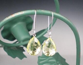 SUMMER SALE Pale Yellow Rhinestone Drop Earrings Yellow Wedding Bridesmaid Earrings Jewelry