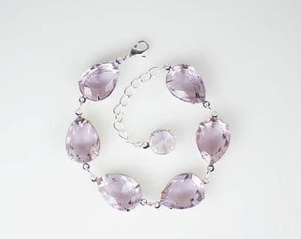 SUMMER SALE Pale Lavender Rhinestone Bracelet Lavender Wedding Bridesmaid Jewelry MADE To Order