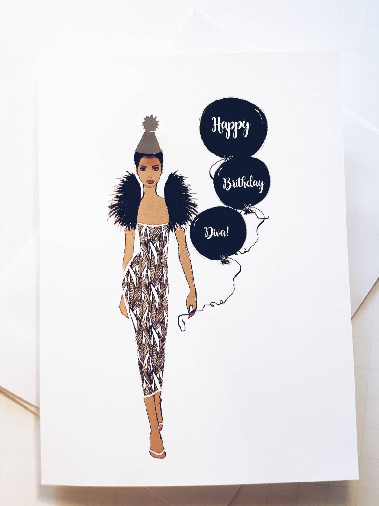 Birthday Card Diva Card Fashion Illustration Card