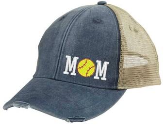 Girl's Softball Mom Distressed Trucker Hat - off-center