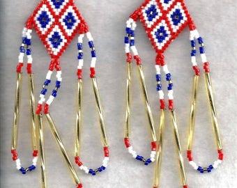ON SALE Diamond-Dangle Seed Bead Earrings, Patriotic Seed Bead Earrings, Diamond-Dangle Earrings, Patriotic Earrings