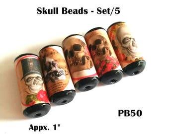 Unique Skull Beads -  Handmade Paper Tube Beads - Set/5 Beads -  PB50