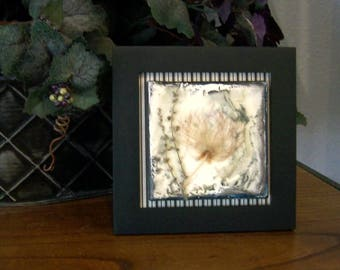 Mixed media collage, dried flower art, wax art, small framed art, cottage decor, mixed media art, canvas art