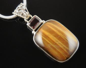 Tiger's eye & garnet pendant/necklace