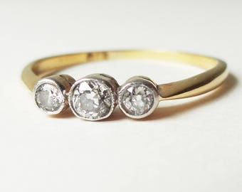 Art Deco Classic Diamond Trilogy Ring, Vintage 18k Gold, Platinum and Diamond Engagement Ring, Approx Size US 9.25