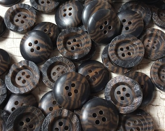 """vintage buttons,dark brown,rough bark like rim,concave center,woodlook,new old stock,just under 3/4"""",seventies,set of 12,dark tiger striped"""