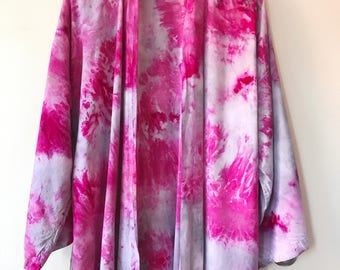 Hand Dyed Kimono Robe in Storm Clouds, Tie Dye, Shibori, Rayon Bathrobe, Anna Joyce, Portland, OR.