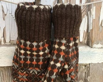 CRAZY SALE- Wool Retro Mittens- Upcycled Fashion-Brown and Orange-Sweater Mittens