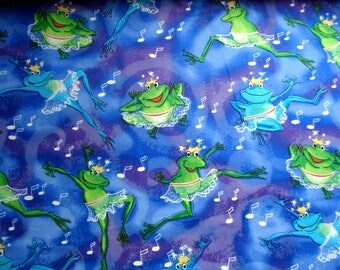 Frolicking Frogs Cotton Woven Fabric