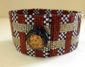 Beaded Cuff Bracelet Loomed Beadwork Bracelet Retro Diner Style