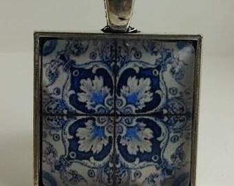 Spanish Tile Glass Cabochon Pendant