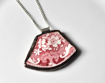 Broken China Jewelry Pendant - Red and White Floral