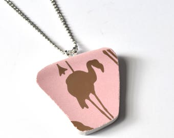 Broken China Jewelry Pendant - Golden Pink Flamingo