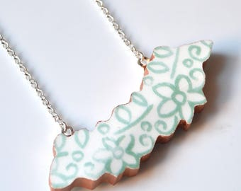 Wide Rim Broken China Jewelry Necklace  - Teal Cutout Gold Border