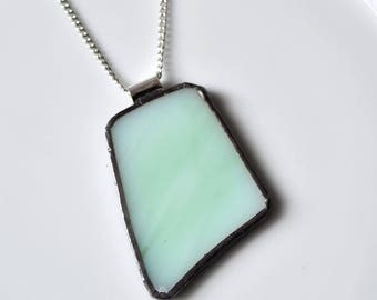 Recycled Stained Glass Jewelry Pendant - Mint Green