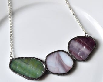 Cluster Broken China and Stained Glass Jewelry Necklace  -Green and Purple