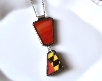 Broken China Jewelry Pendant - Stained Glass and Maryland Flag Necklace