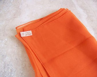 Orange Silk Scarf . Baar & Beards . 22 x 23 Inches