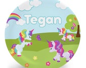 Rainbow Unicorn Plate - Personalized Plate for Kids - Gift for Kids - Melamine Plate (Plastic) - Choose plate, bowl, mug, placemat, or set