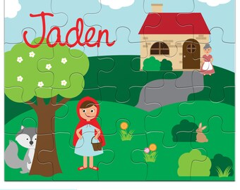 Personalized Puzzle for Kids - Little Red Riding Hood Puzzle - Jigsaw Puzzle with Child's Name, 20 pieces, 8 x 10 inches, Granddaughter Gift