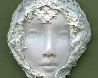 Polymer Clay One of a Kind White   Face with Fabric  Cab FFW 1