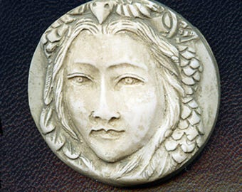 Faux Marble Polymer Clay Lady Face  Cab Un drilled ANL 1