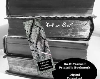 Knit or Read Printable Bookmark PDF Download