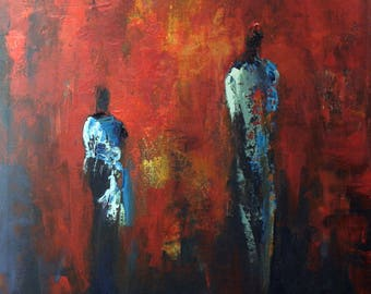 Maasai Figures Red  Abstract Art Oil Painting Colorful Painting 30x24 by BenWill
