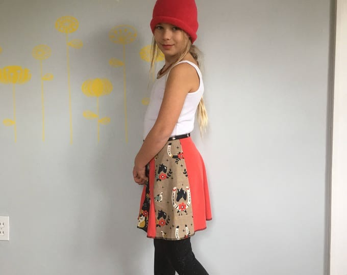 Child Skirt, Snap Around Adjustable Skirt, Erin MacLeod, horse, jackalope