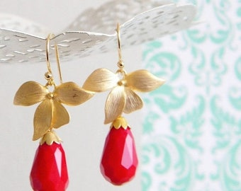 SALE Gold Orchid Red Opaque Quartz Faceted Teardrop Earrings