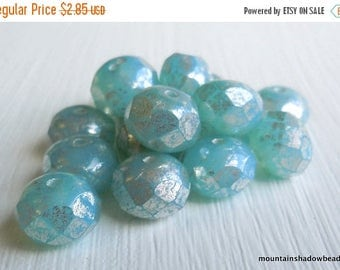 25% OFF Sale Czech Rondelle Bead - Picasso Beads - Czech Glass Bead Milky Aqua Silver Picasso 8mm Rondelle (G - 326) 10 Beads