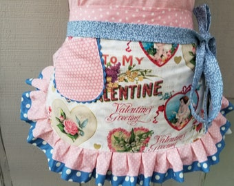 Womens Aprons - Valentines Aprons - Valentines Pink Aprons - Annies Attic Aprons - Etsy Aprons - Aprons with Hearts- Valentine Pink Aprons