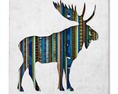 Bull Moose Silhouette Mixed Media Silhouette Art