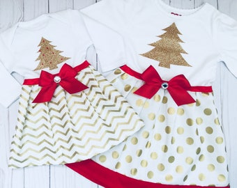 Christmas SISTER outfits... gold sparkle Christmas tree , red accents ... holiday wear- new baby