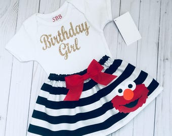 ELMO Birthday girl outfit... Sesame street inspired.. black and white striped and sparkle gold shirt...girls clothing