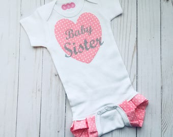 Baby sister ruffle legged outfit... Little sister outfit in pink and silver - new baby- baby shower.