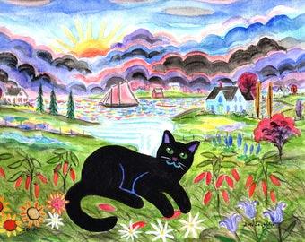 ORIGINAL PAINTING, Black Kitty Angel come Back to Visit Red Pepper Fields Forever to Play with Some Peppers like in Old Days, by DM Laughlin