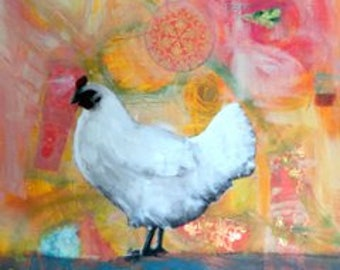 chicken love abstract hen  original large painting