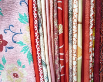 Red Mixed Silk, Silk Kimono Scraps, Asian Vintage Fabric, Silk Remnants, Japanese Craft Supply, Kimono Fabric