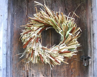CATTAIL  WREATH   for autumn wall or door decoration  standard