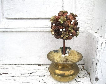 PINE CONE TOPIARY  dressed for the holidays
