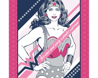 """Wonder Woman Panel Pink Navy Licensed DC Camelot Fabric 36"""" x 44"""""""