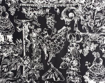 Can Can Skeleton Dancer French Toile Alexander Henry Fabrics Black and White 1 Yard