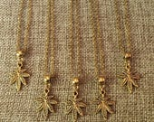SUMMER SALE Tiny Gold Marijuana Necklace / Gold Weed Leaf Necklace / Gold Pot Leaf Necklace / Marijuana Jewelry / Stoner Jewelry