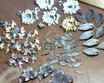 Leaf Charms Assortment Variety Mixed Lot Destash Nature Supplies Jewelry Making