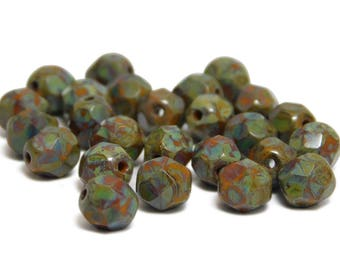 Wholesale Czech Beads Czech Fire Polished Beads 6mm Goldenrod Green Picasso Round Beads 100pcs(1905-4) Czech Picasso Beads Czech Glass Beads