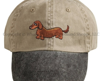 Embroidered Red Longhair Dachshund Ball Cap / Khaki