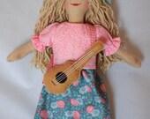 Girl Doll With Guitar - Rock n Roll Singer - Folk Singer - Art Doll - Toy